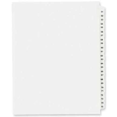 Picture of Avery Consumer Products Index Dividers  Exhibit 51-75  Side Tab  25/ST  WE (Pack of 10)