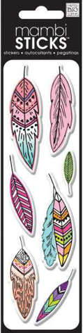 """Picture of Mambi Puffy Stickers 2""""X7"""" Sheet-Pink Feathers"""