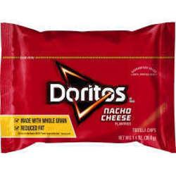 Picture of Doritos Nacho Cheese Tortilla Chips, Reduced-Fat, Top N Go, Single-Serve, 1.4 Oz Bag, 44/Case