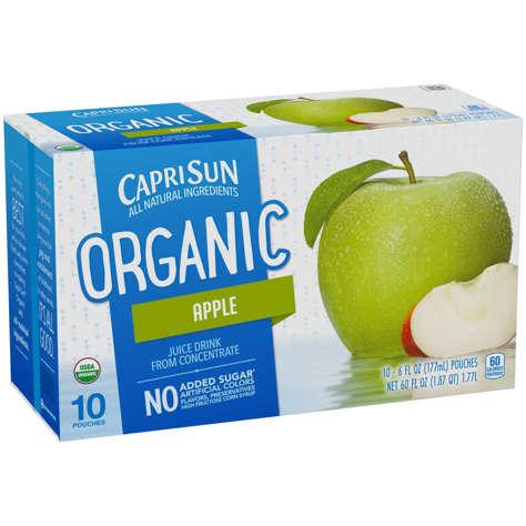 Picture of Capri Sun Apple Organic Juice Pouch, Single Serve, No Added Sugar, 6 oz Pouch, 10 Ct Package, 4/Case