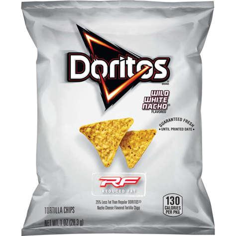 Picture of Doritos White Nacho Cheese Tortilla Chips, Reduced-Fat, Whole Grain, Single-Serve, 1 Oz Bag, 72/Case