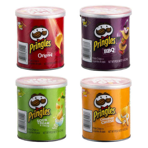 Picture of Pringles Assorted Potato Chips, Single-Serve, 1.41 Oz Can, 60/Case