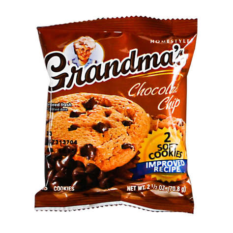 Picture of Grandmas Soft Chocolate Chip Cookies, Shelf-Stable, Individually Wrapped, 2 Ct Bag, 60/Case