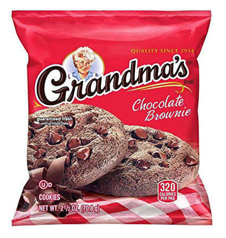 Picture of Grandmas Soft Chocolate Brownie Cookies, Shelf-Stable, Individually Wrapped, 2 Ct Bag, 60/Case