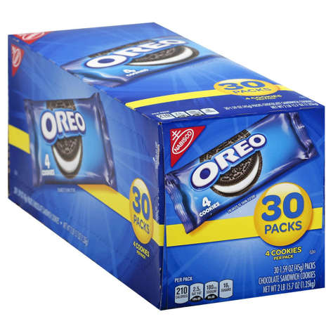 Picture of Nabisco Oreo Cookies, Shelf Stable, Single-Serve, Individually Wrapped, 1.59 Ounce, 30 Ct Package, 4/Case
