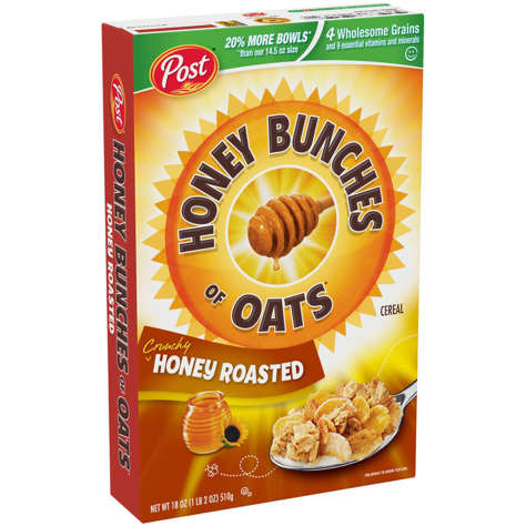 Picture of Post Honey Bunches of Oats Cereal, 18 Oz Box, 12/Case