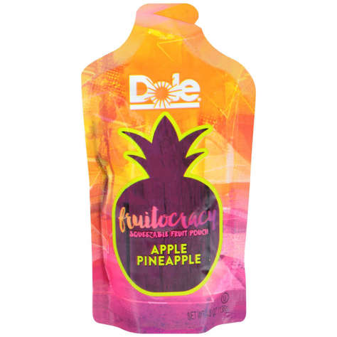 Picture of Dole Fruitocracy Pineapple Applesauce, Shelf-Stable, Pouch, 4.8 Oz Each, 50/Case