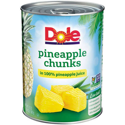 Picture of Dole Chunked Pineapple in Juice, Fancy, 20 Oz Can, 12/Case