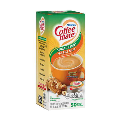 Picture of Coffee mate Hazelnut Sugar Free Liquid Creamer Cups, Shelf-Stable, Single Serve, 50 Ct Box, 4/Case