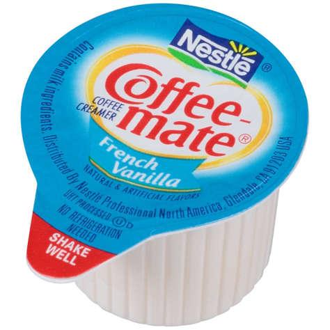 Picture of Nestle French Vanilla Non-Dairy Liquid Creamer Cups, Shelf Stable, Single-Serve, 0.38 Oz Each, 180/Case