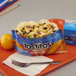 Picture of Tostitos Tortilla Chips, Round, Whole Grain, Reduced-Fat, Top N Go, Single-Serve, 1.4 Oz Bag, 44/Case